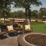 fire pit backyard putting green