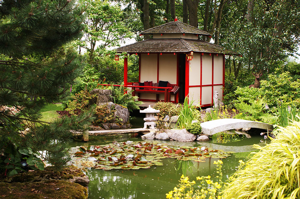 Chinese Garden Building Bridge And Pond