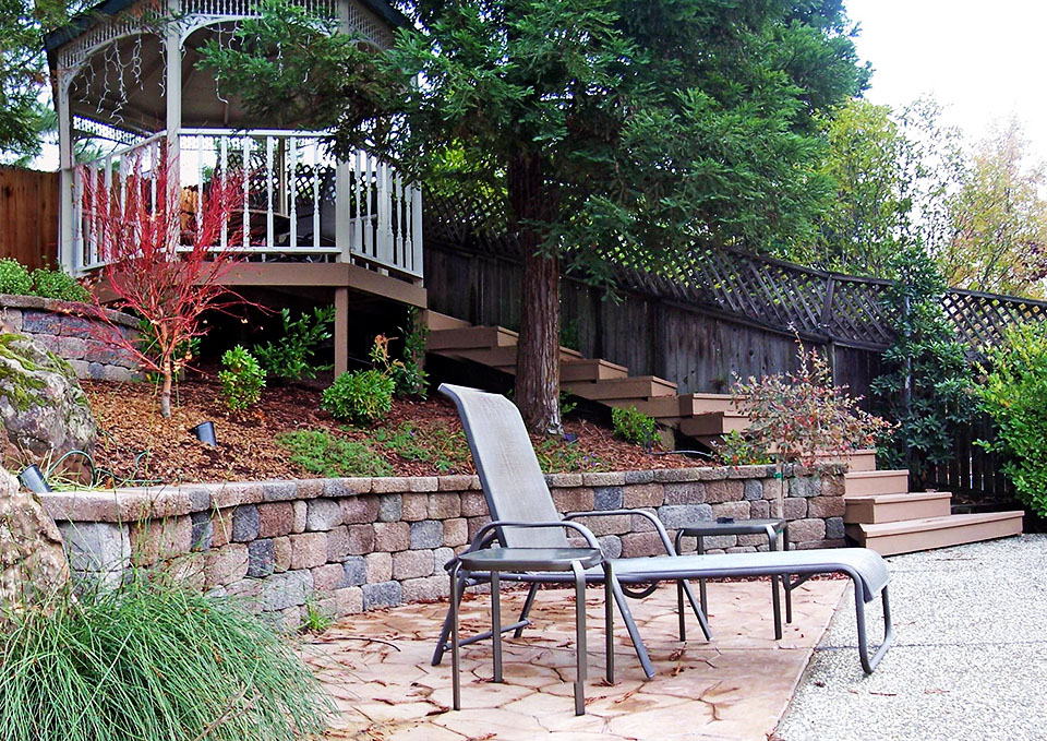 Sacramento Pool Gazebo Shade Structure Retaining Wall